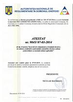Atestat nr. 9845-07.03.2014 ANRE de tip A3