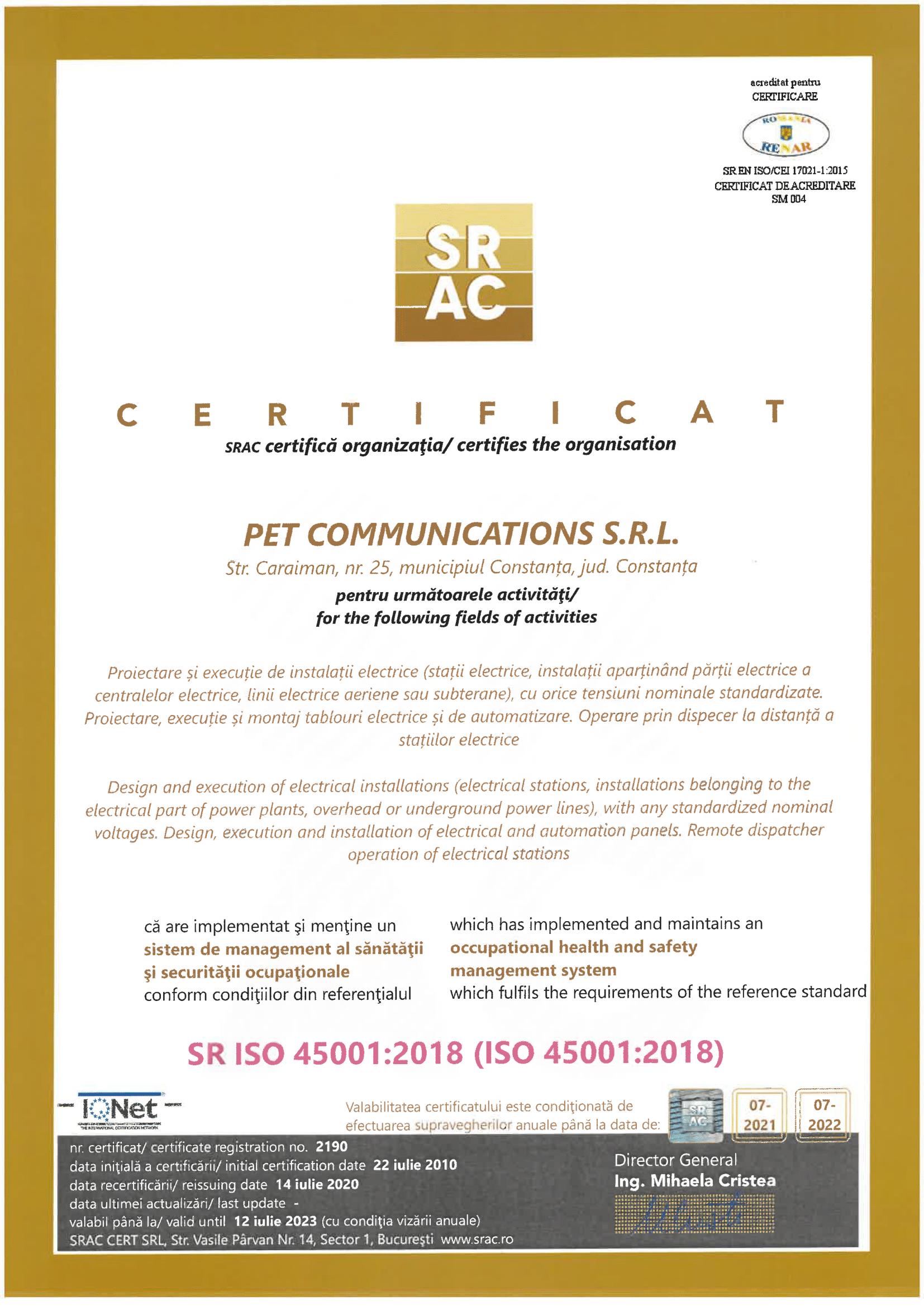 Certificat ISO 45001:2018